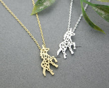 Kinitial Gold Silver Beautiful Unicorn Horse Necklace For Women Best friend Gift Unicorn Horse Necklace Personality Neck Jewelry(China)