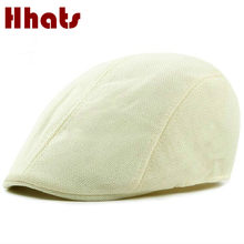 f8a3641bd0c which in shower breathable solid summer flat cap for women or men linen beret  hat male duckbill newsboy hat casual vintage bone