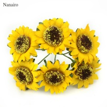 6pcs/lot 4cm Head Artificial Mini Silk Sunflower Artificial Flowers Bouquet For Garden Wedding Car Home Decoration Scrapbooking