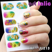Artlalic 1 Sheet 12 Tips Nail Stickers Patch 34 Styles Glitter Pop Patterns 3D Nail Art Decals Transfer harms