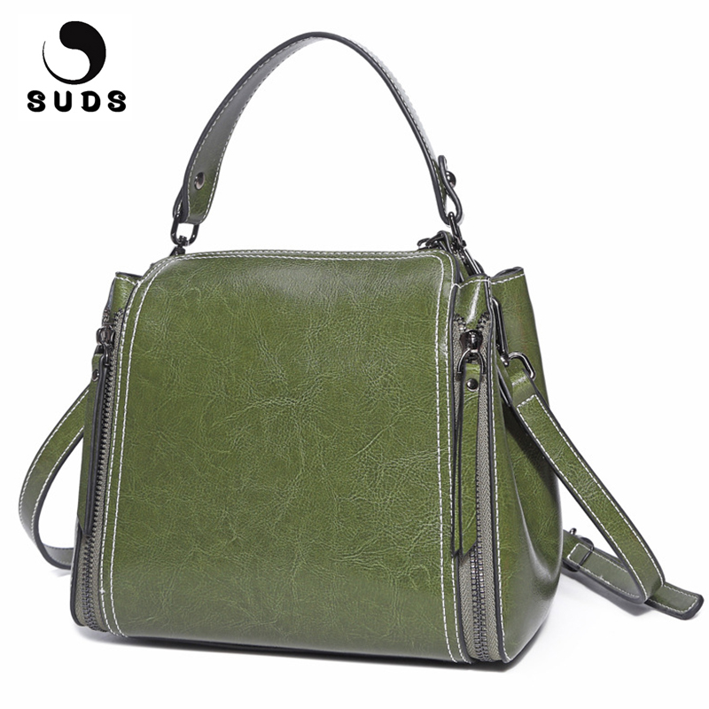 SUDS Brand Genuine Leather Women New Fashion Shoulder Bags High Quality Female Cow Leather Crossbody Bags Women Messenger Bags<br>
