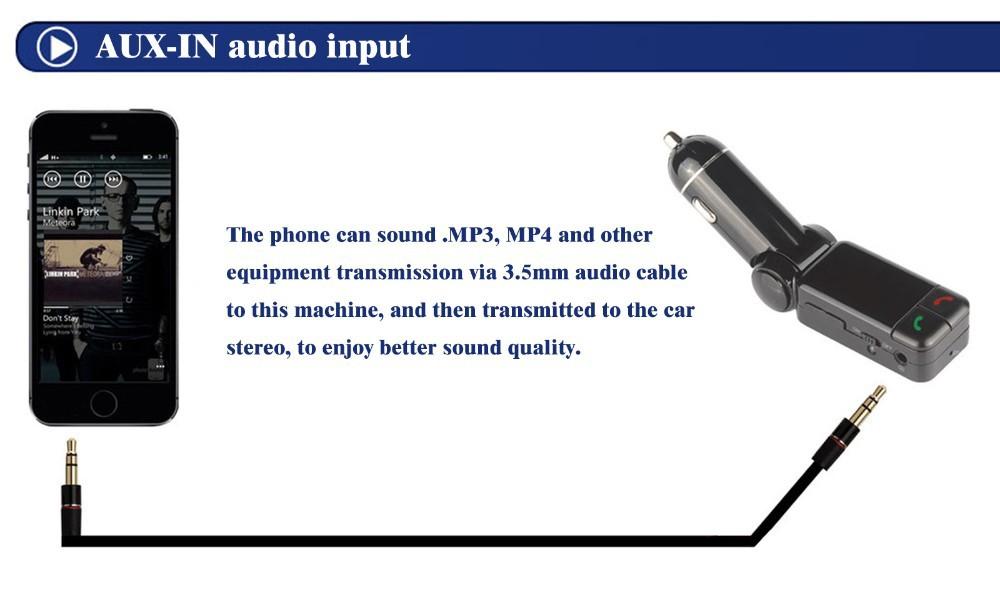 Handsfree wireless car bluetooth kit car charger dual usb port 5v 2a lcd mp3 player u disk fm