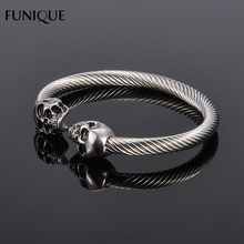 FUNIQUE Punk Rock Stainless Steel Bracelet Men Antique Silver Gold Color Skull Bracelet Men Gothic Jewelry Open Bracelet&Bangles(China)
