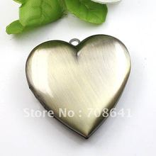 40mm Vintage Antique Bronze tone Brushed Brass Love Heart big Wish Prayer Box Photo Locket Pendant Diy Picture Frame Settings