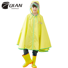 QIAN RAINPROOF Kids Rain Coat Flowering In Rain Children Rainwear PU Coating Rainsuit Transparent Big Brim Cloak Raincoat