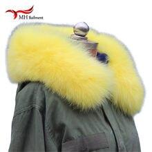 Yellow fox Winter Women's Real Fox Fur Collar Fox Fur Cap Fur Collar 70/80cm Straight Collar Soft Fur Scarf Neck Warmer L26(China)