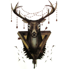 death reindeer Temporary Tattoo Women Tatoo Deer Tattos Adhesive Animal Tattoo Supplies Waterproof Tattoos Sticker 15*21cm