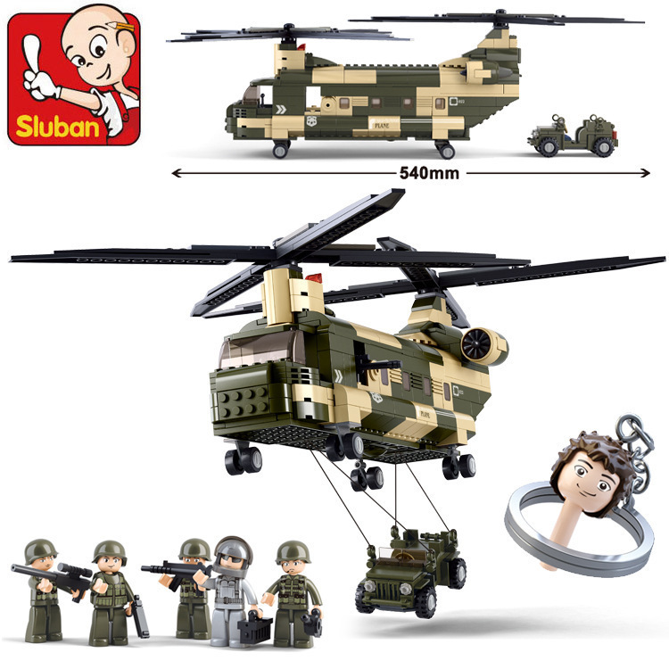 Building Block Sets Compatible with lego military transport helicopter 3D Construction Brick Educational Hobbies Toys for Kids<br>