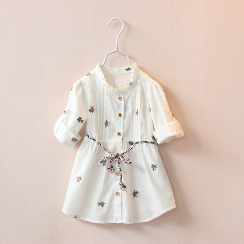 2017  spring autumn baby girls dress long sleeve girls princess dress pure cotton girls clothes single breasted belt dress 2-7T<br>