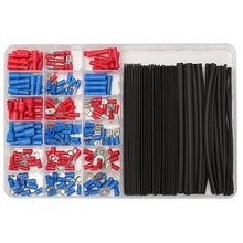 20Crimp Terminals&62:1 Black Heat Shrink Tube Tubing Assorted Connectors Box Kit Wrap Wire Cable Sleeving Kits - Channy Professional Tools store