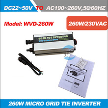 Free shipping!!MPPT On grid Inverter WVD-260W Input DC22V-50V and Output AC220V,50HZ Waterproof  IP65 Micro solar inverter