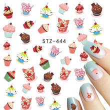 STZ 1 Sheets Nail Art Water Decals Sweets Cake Colorful Children Printing DIY Beauty Sticker Nail Decorations Tips STZ444