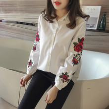 2017 Rose Striped Plus Size Shirts Women Turn-Down Long Sleeve Flower Embroidery Blouses Lady Loose Tops Blusas 32924(China)