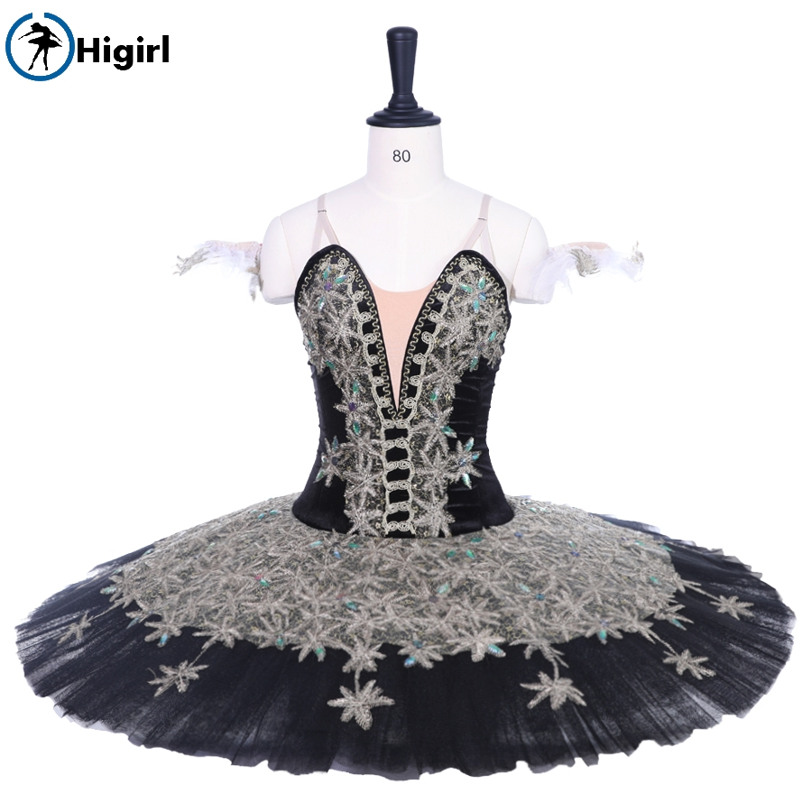 Adult Black Gold Professional Ballet Tutu Pancake Peformance Tutus Fairy Doll Ballet Dress Precious Stones Ballet skirt BT9188A