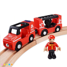 w122 Free Shipping Acoustic Light Plastic Magnetic Fire Train Children Traffic Toy Game Scene Compatible with Thomas Wood Track(China)