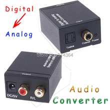 10pcs/lot Converters Audio converter Digital Optical Coax Toslink to Analog Audio Converter adapters free Express shipping(China)