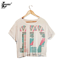 "Lei-SAGLY 2017 ""1D"" Letter Fashion Dew Navel Short Sleeve Crop Tops Harajuku Sexy T-shirt Fitness Kawaii Camisetas T shirts F988"