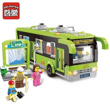 Enlighten 418pcs City Bus Station Building Blocks Educational Bricks Action & Toy Figures Kids Toys(China)