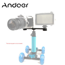 "NEW Andoer All metal Double Flash Bracket with 1/4"" Mounting Screw for Speedlite Video Light Hand Grip Camera Hot Shoe"