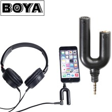 BOYA BY-AUM3 3.5mm TRRS Microphone with 3-position 3.5mm Headset Splitter Adapter for iPhone 6 6s 5 5s 4 4s iPad iPod Touch
