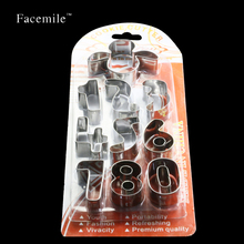 Facemile 10PCS/SET Number Shape Metal Cookie Chocolate Cutters Gift Bakeware Cookies Fondant Biscuit Mold 02041