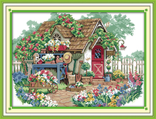 Flower cabin (2) Needlework kit 11CT&14CT Scenic style cross stitch innovation items embroidery DIY home decoration