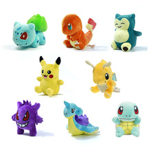 8StylesYoung Q version Little Pikachu Charmander Gengar Bulbasaur Squirtle Dragonite Snorlax Stuffed Doll  Pokemon Plush Toys