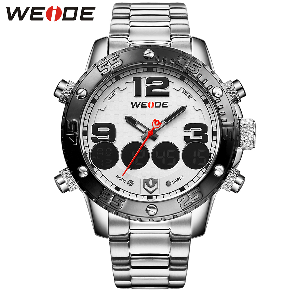 WEIDE Men Stainless Steel Band Quartz Movement Watch Date Big Numbers LCD Analog Digital Display White Dial Wrist Watch Original<br>