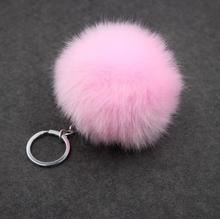 Fur Pom Pom Keychain Fake Rabbit fur ball key chain C porte clef pompom de fourrure pompon Bag Charms bunny keychain Keyring