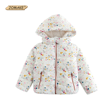 JOMAKE Girls Parkas 2017 New Winter Kids Clothes Floral Printed Baby Girl Warm Coat Children Thicken Hooded Outerwear & Coats