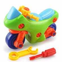 Removable DIY Motorcycle Puzzle Screw Nut Assembling Model Buildings Toys With Clamp and Screwdriver Early Baby Kids Game Gifts(China)