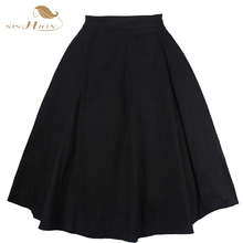 2017 New Fashion Black Skirt Women High Waist Plus Size Floral Print Polka Dot Ladies Summer Skirts 50s Vintage Midi Skirt VD020