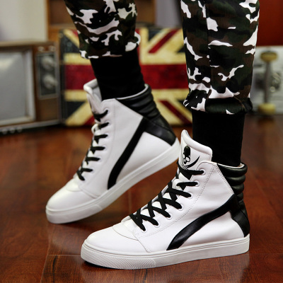 New Fashion PU Leather Shoes Men Skull High-top Shoes Hip Hop Personality Sapatos Masculinos<br>