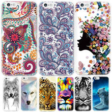 Cartoon Animal Painting Soft TPU Phone Case for iPhone 6 6S 7 Plus 6plus 5 5S SE 5C 4 4S Wolf Flower Pattern Back Cover Shell