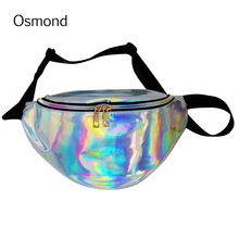 Osmond Hologram Laser Women Waist Bag Waterproof Fanny Pack Leather Shoulder Bag reflective Chest Belt Bag Men Leg Fashion Purse