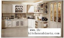 rural solid wood horizontal kitchen cabinets(LH-SW046)(China)