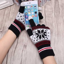 2016 Warm Winter Female Gloves Wool Knitted Wrist Gloves Women Men Snowflake Pattern Full Finger Unisex Gloves Mittens
