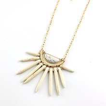 Fashion Tribal Inspired Geometric Design Stunning Howlite Stones Radiating Necklace Gold Modern Jewelry