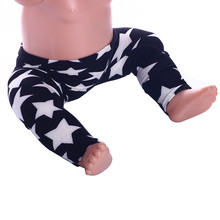 lucky doll Cute Star Pattern Leggings for 43cm New Born Baby Zapf and 18 Inch American Girl Doll Wear n641(China)