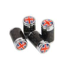 4PCS Car Styling Carbon Fiber Tire Valve Center Caps Auto Parts Wheel Tyre Valve Caps Logo Emblem Britain British National Flag