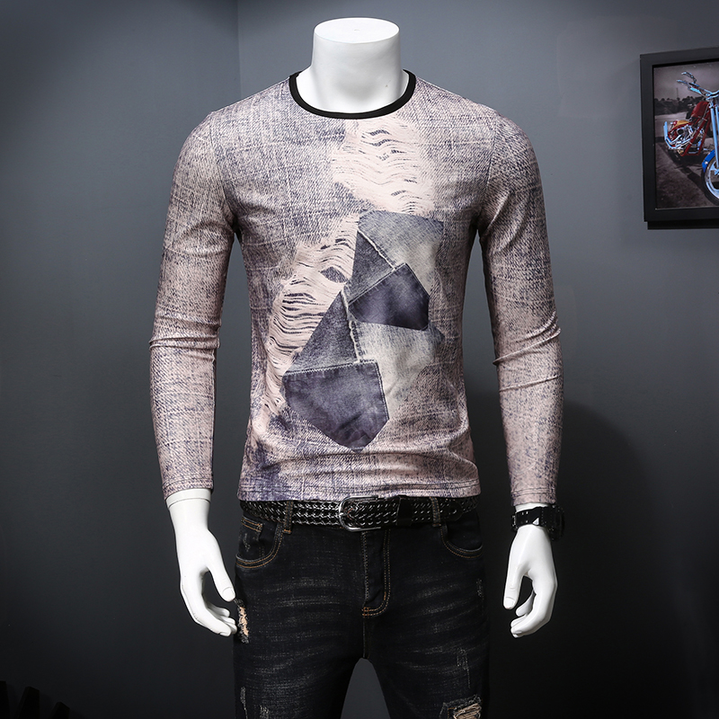 NO.8804 Personality creative retro old 3d print long sleeve t shirt Autumn 2018 high-quality silk cotton soft luxury t shirt men