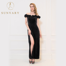 Sunvary Black Celebrity Dress V-neck Straight V-Neck Floor-Length Off the Shoulder Red Carpet Dress Simple Handmade Flowers Gown(China)