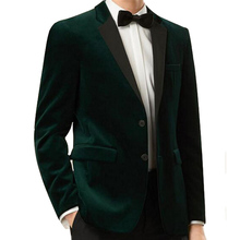 Two Piece Dark Green Velvet Wedding Groomsmen Tuxedos 2018 Custom Made Blazer Business Men Suits Black Pants Jacket(China)