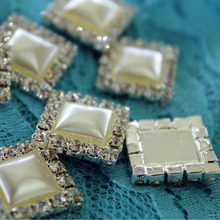 100pcs/lot 16mm HOT SALE Beautiful ivory Rhinestone pearl Button,Wedding dress hair decoration,high quality and reasonable price(China)