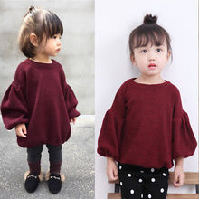 1-6T Cute Kids Baby Girl Pullover Sweaters Warm Jumper Tops Tee Pullover Blouse(China)