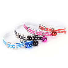 PU Leather Rhinestone Puppy Dog Collar Bell Cat Pet Neck Strap Custom DIY Bells pet collar(China)