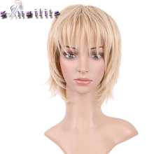 S-noilite Short light ash blonde Wigs 100% High Tempreature Synthetic Full Head Hair Wig Real Natural Hairpiece