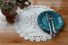 HOT Round satin table place mat cloth embroidery placemat pad coaster cup mug pot holder desk doilies office kitchen accessories