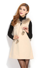New 2014 autumn winter fashion womens sleeveless fur collar woolen dress ladies sundress jumper vintage party evening vest dress