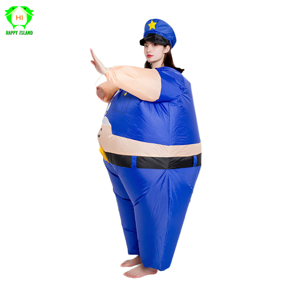 Inflatable Policeman Costume Funny Adult Police Women Fat Police Blue Halloween Carnival Christmas Party holiday Cosplay Costume